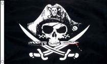 5ft x 3ft Fabric Large Pirate Ship Jolly Roger Skull and Crossbones Flag